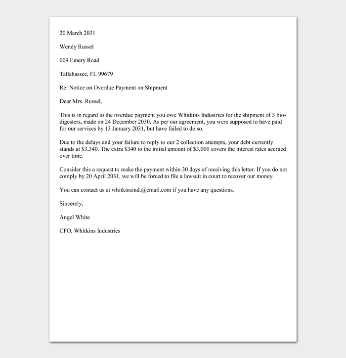 30 Day Demand Letter for Payment (Sample)