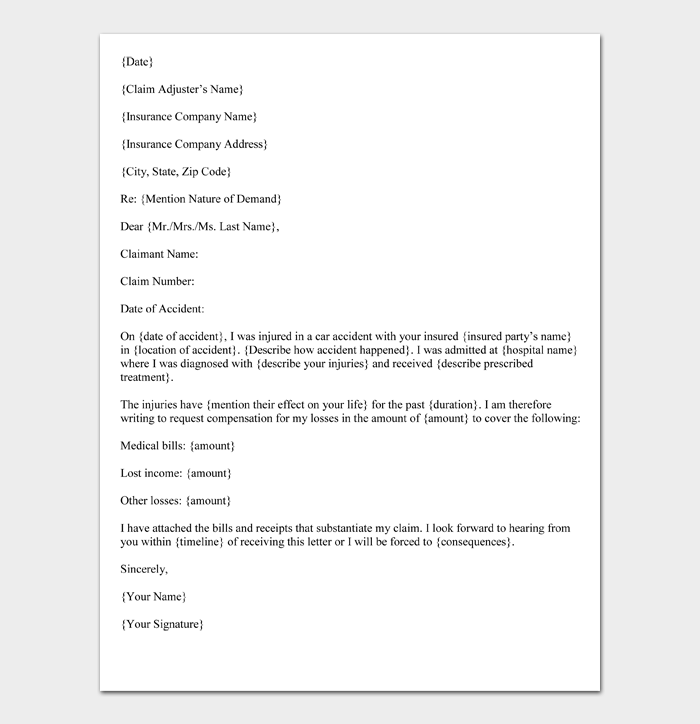 Car Accident Demand Letter Format