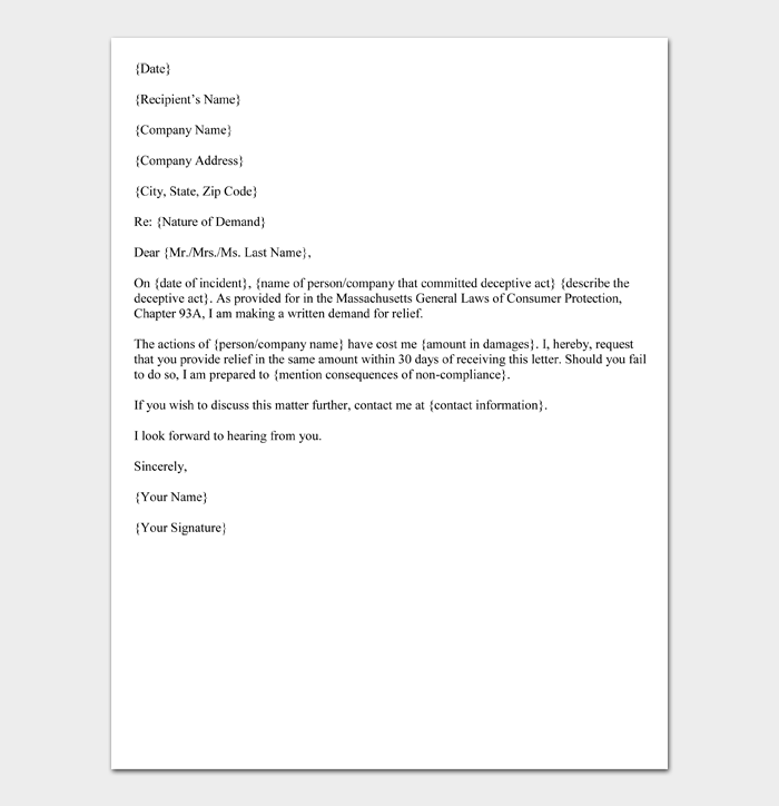 Chapter 93A Demand Letter (Format)