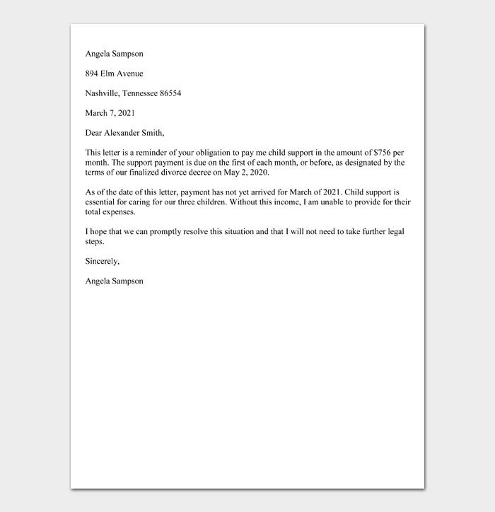 Child Support Demand Letter (Sample)