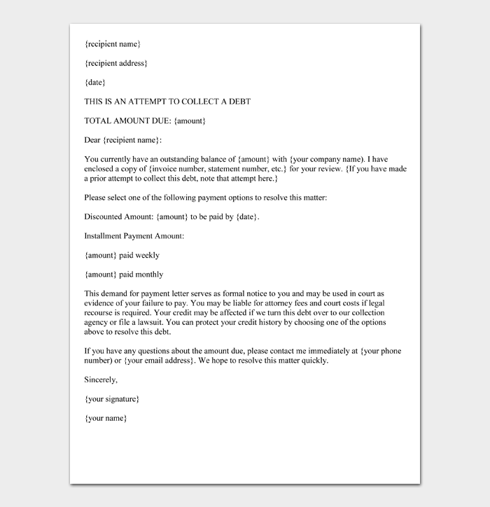 Demand Letter for Payment (Format)