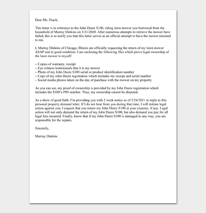 Personal Property Demand Letter Sample