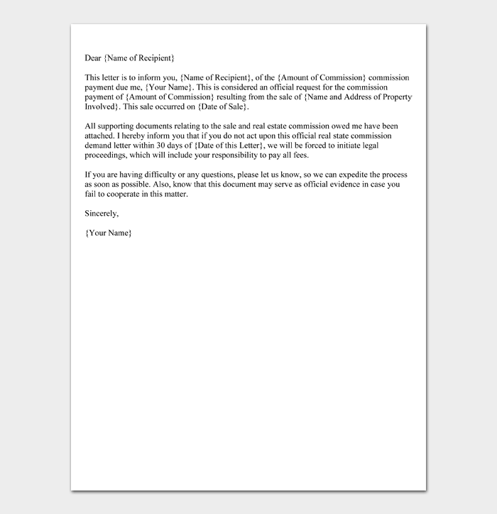 Real Estate Commission Demand Letter Format