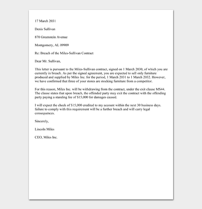 Sample Breach of Contract Demand Letter