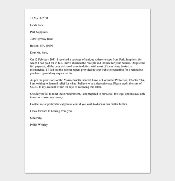 Sample Chapter 93A Demand Letter