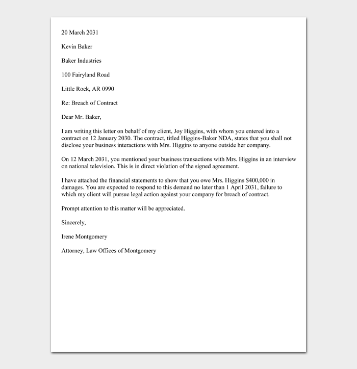 Sample Demand Letter from Attorney