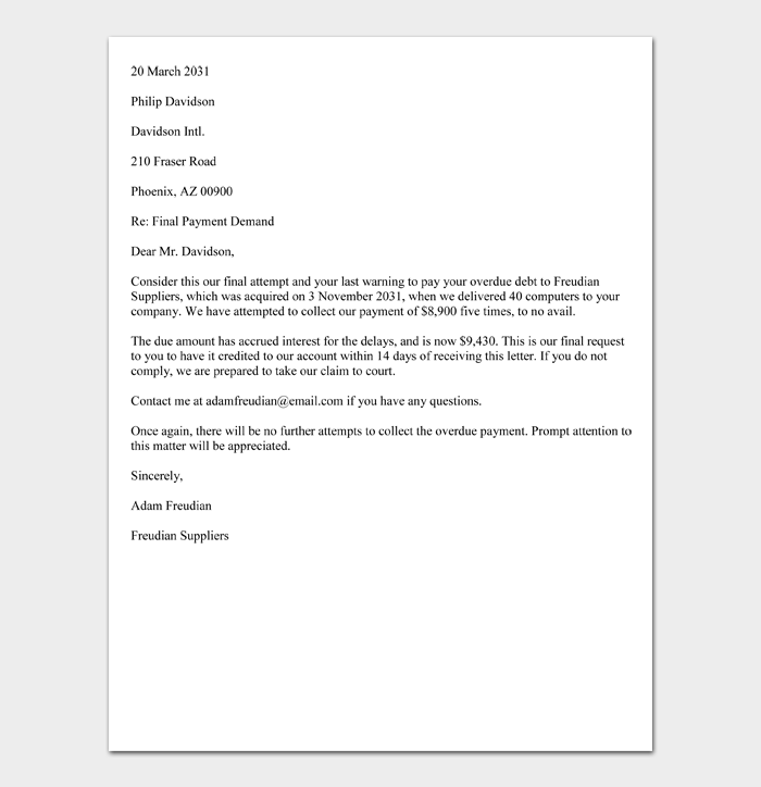 Sample Final Demand Letter for Payment