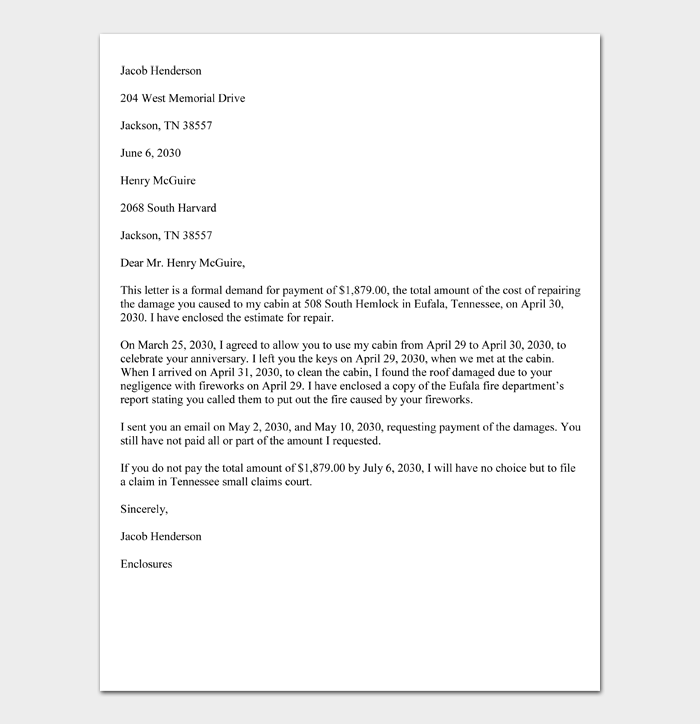 Sample Small Claims Demand Letter